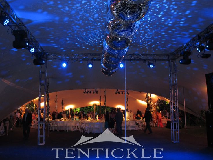 The mirror balls make for a wonderful lighting effect on the tent interior