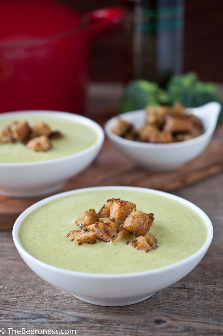 Green Beer Cheese Soup (Broccoli Cheddar) with Pesto Croutons (no food dye) | The Beeroness