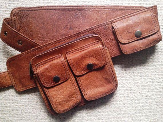 UNISEX Tan Leather UTILITY BELT, pocket belt, fanny pack, Bumbag
