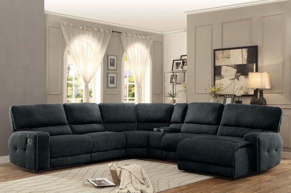 Homelegance 8336 6pc 6 Pc Keamey Dark Grey Fabric Sectional Sofa