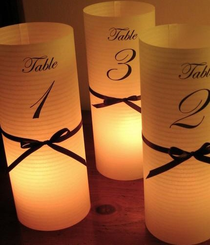 table numbers i really like this with the rubber band and spray paint idea!!! could be great!! we will havbe to look into what you want as table identifiers numbers song names animal names..;. etc...