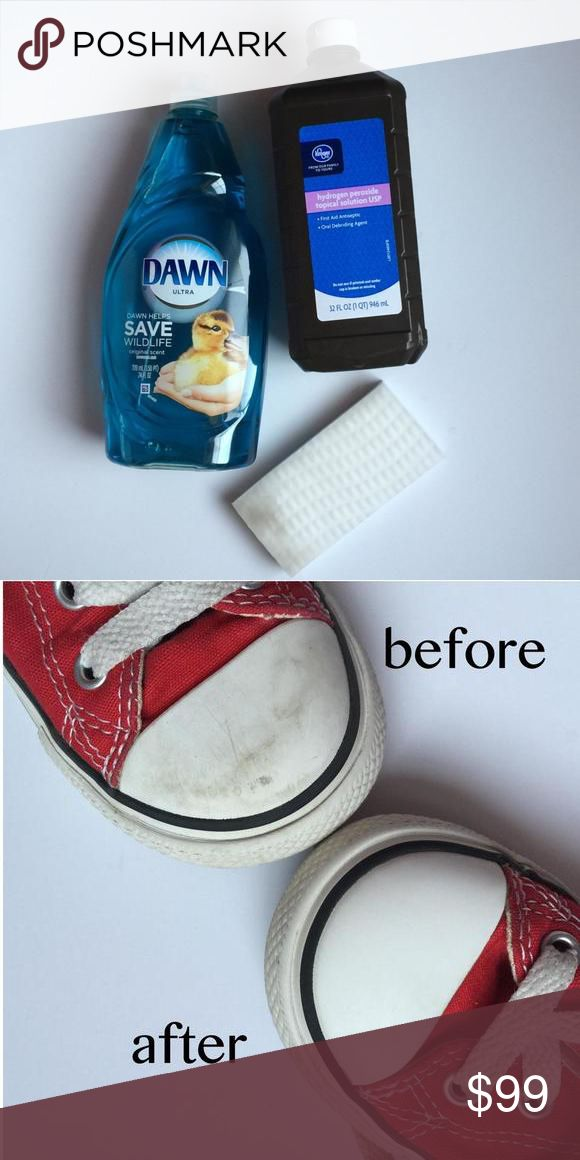 How to clean shoes Make your shoes look new again Supplies: old tooth brush, dawn, hydrogen peroxide, and a magic eraser 1. Mix 2:1 hydrogen peroxide with dawn and spay on shoes let sit for a couple hours then scrub with tooth brush rinse thoroughly. 2. Take laces out and soak in same mixture in a little bowl. 3. Wipe with magic eraser on any white parts like chucks 4. Dry shoes in sun Accessories