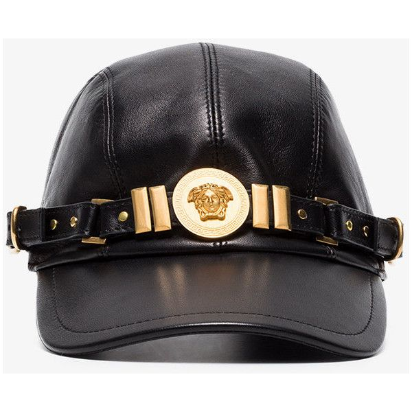 Versace Black Medusa Medallion Leather Cap (14.150.810 IDR) ❤ liked on  Polyvore featuring accessories 73d943ee094