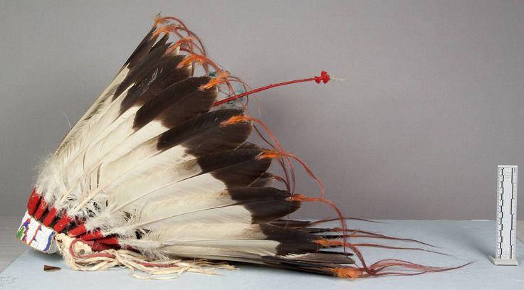 Головной убор (орлиные перья, горностай?), Оглала Лакота. Вид два. Длина 17 1/2, диаметр 11 1/2 дюймов. Victor J.Evans, 1931 год. NMNH
