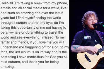 "Ed Sheeran Has Quit Social Media To Stop ""Seeing The World Through A Screen"""