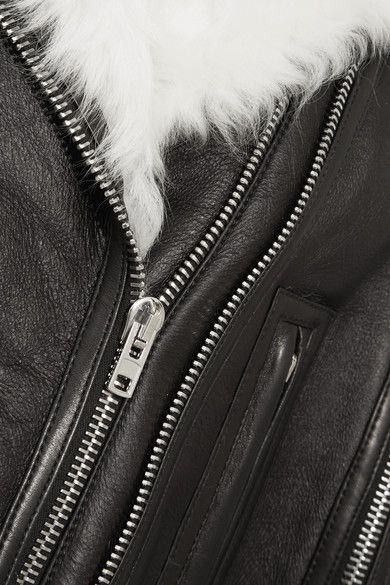 Givenchy - White Shearling-trimmed Cape In Black Leather - FR38