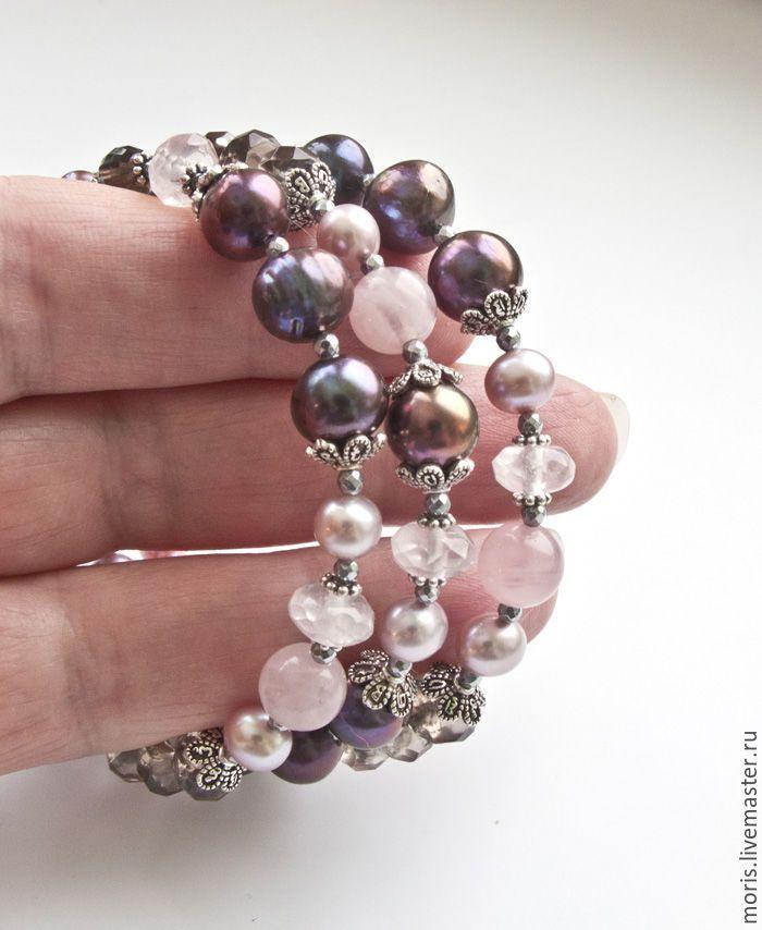 """Купить Жемчужный браслет из серебра """"Жаннис"""" раухтопаз кварц ... - купить браслет в москве, жемчужный браслет"""