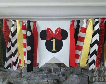 Minnie Mouse high chair banner * Mickey Mouse party decorations * Mickey Mouse high chair banner * Minnie Mouse birthday * backdrop