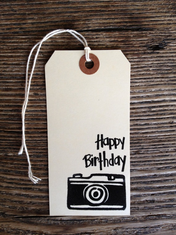 Happy Birthday Camera Large tags by arizonaperkins on Etsy, $3.00