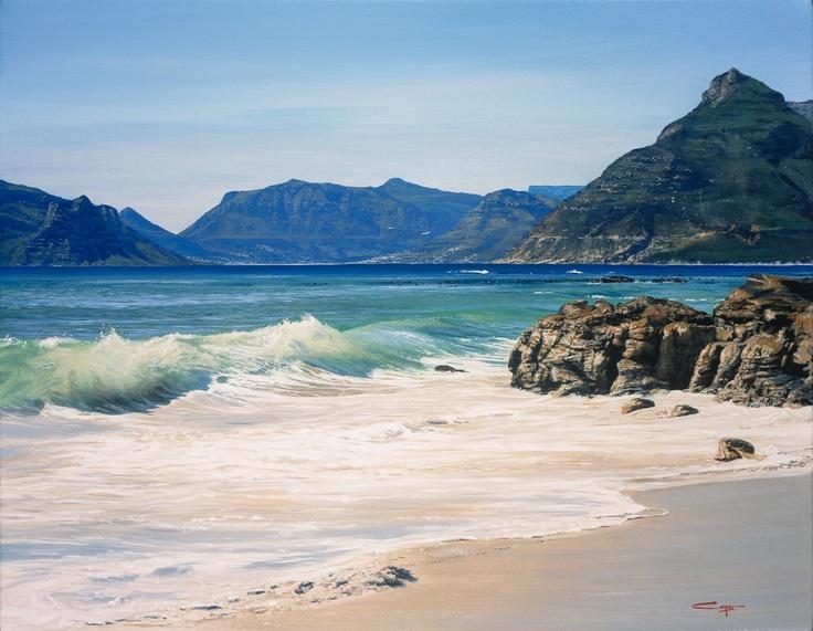 Painting of Hout Bay from Noordhoek Beach.