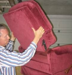 Removing the back from a Lazy Boy recliner for reupholstery
