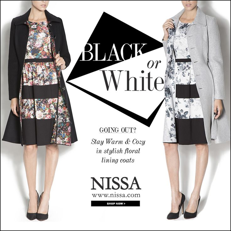Light Grey Coat: http://goo.gl/h3bPRZ Black Coat: http://goo.gl/nW6I5m  www.nissa.com #nissa #coat #black #white #chic #floral #lining #style #look #fashion #stylish #fashionista #outfit #outerwear #redingota #palton