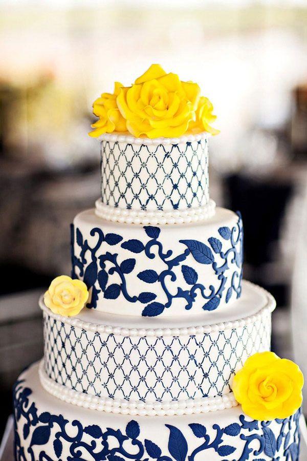 navy and yellow wedding cake.