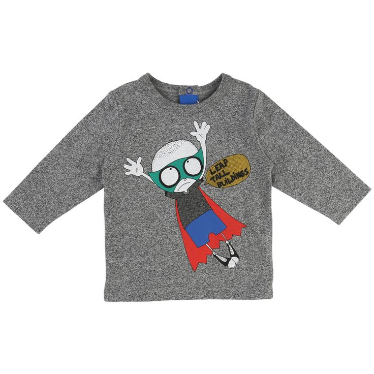 Little Marc Jacobs Long Sleeved T-Shirt Superhero (light grey)