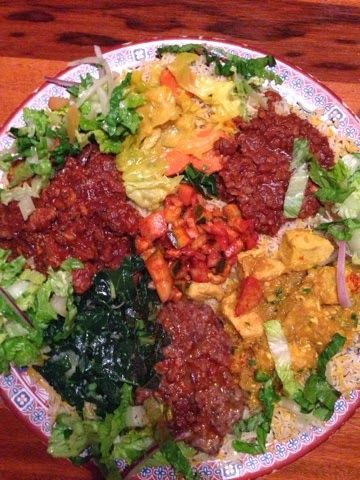 Gluten free options at The Horn of Africa restaurant in Portland.  Great spot to get African food.  Locally owned small business.