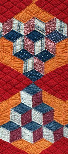 tumbling blocks circa 1900 | close up |  The Quilt Complex