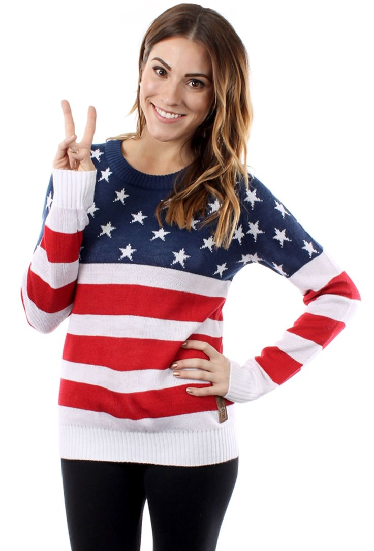 Stay warm and show your patriotism at the same time with this American Flag sweater.