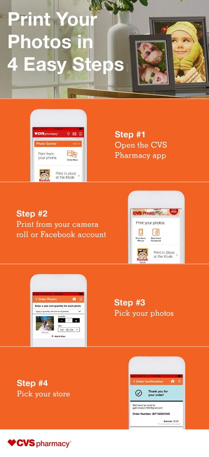 "It's easy to turn your Facebook photos into lasting memories — everything you need is in the CVS Pharmacy app. Choose your favorites and have them printed and ready to pick up in no time! 1. Sign in to the CVS Pharmacy app on your phone. 2. Scroll down and tap the Photo Center and choose your source, like your photos or Facebook. 3. Choose your photos, tap ""Done selecting"", and choose size and quantity. 4. The CVS Pharmacy app will find the CVS Pharmacy pickup locations nearest you."
