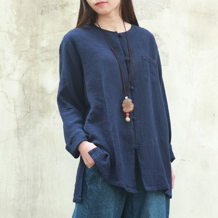 ==> [Free Shipping] Buy Best Blusas Femininas 2016 Spring Women Blouses O-Neck Cotton Linen Shirt Women Tops Traditional Chinese Clothing Camisas Femenina Online with LOWEST Price | 32657422992