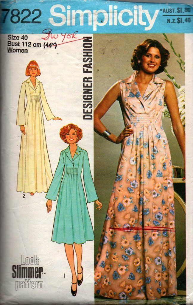 cecb9722456da Simplicity 7822 Womens PLUS SIZE Designer Caftan Dress or Maxi 70s Vintage  Sewing Pattern Size 40 Bust 44 inches