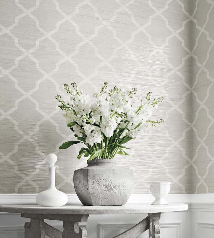 Interior design trend, Trellis geometric wallpaper | Carolyn Trellis Wallpaper by Thibaut | Jane Clayton