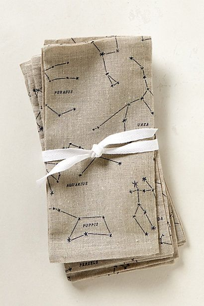 Sky Map Napkins | Anthropologie #anthropologie  My love of zodiac and constellation prints knows no bounds
