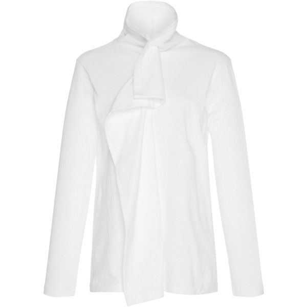Kimhēkim White Fish Fin Turtleneck (323 900 LBP) ❤ liked on Polyvore featuring tops, sweaters, white, flutter-sleeve top, ruffled sweaters, white turtleneck top, turtle neck sweater and white turtleneck sweater