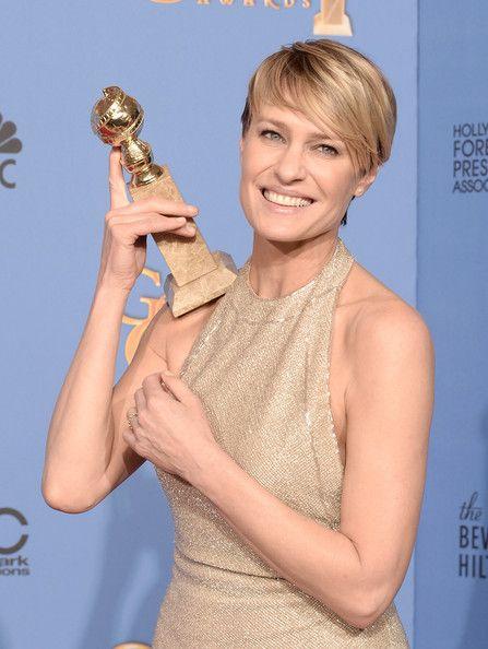 Robin Wright holding Golden Globe Award
