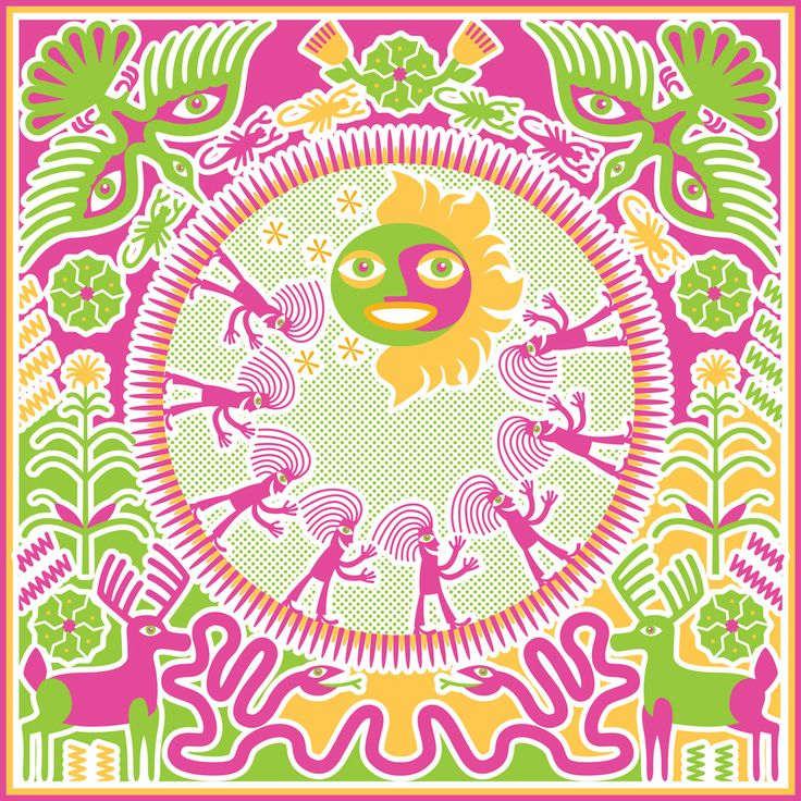 Pilgrimage to the Sun. This illustration weaves images of the Huichols' journey with symbols of peyote (the small green circular forms) and corn plants along with the Sun God as a central creator figure and assorted animals important in their mythology.This series of decorative illustrations was inspired by the art of the Huichol (Wixaritari) indigenous group who inhabit a small mountainous area in western Mexico.
