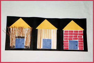 Week 4- Cute craft activity to go along with the 3 little pigs book.