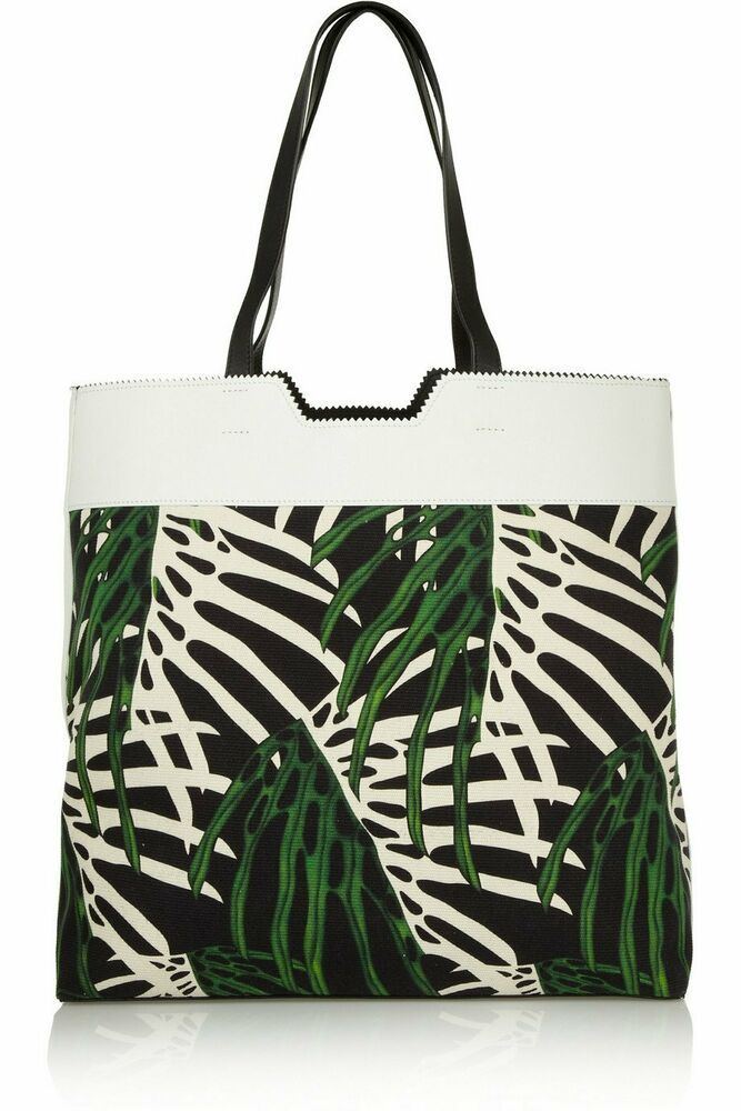 9680899a86fc PROENZA SCHOULER Paper Bag Leather Paneled Tropical Canvas Printed ...