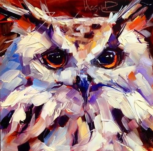 CONTEMPORARY OWL PAINTING in OILS by OLGA WAGNER - Original Fine Art for Sale - © by Olga Wagner
