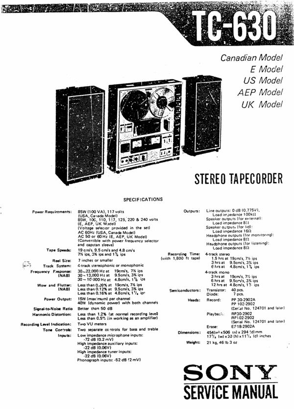Sony TC-630 reel to reel tape recorder Service Manual 100 per cent satisfaction guaranteed  100 DOWNLOAD