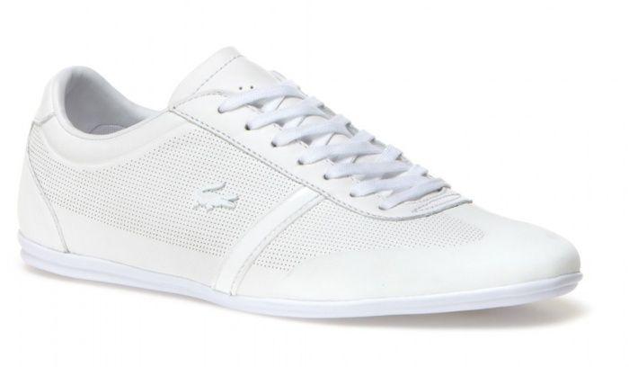 · Zapatillas Lacoste blancas en piel· Zapatillas Lacoste de punta redondeada· Zapatillas Lacoste con logo ...