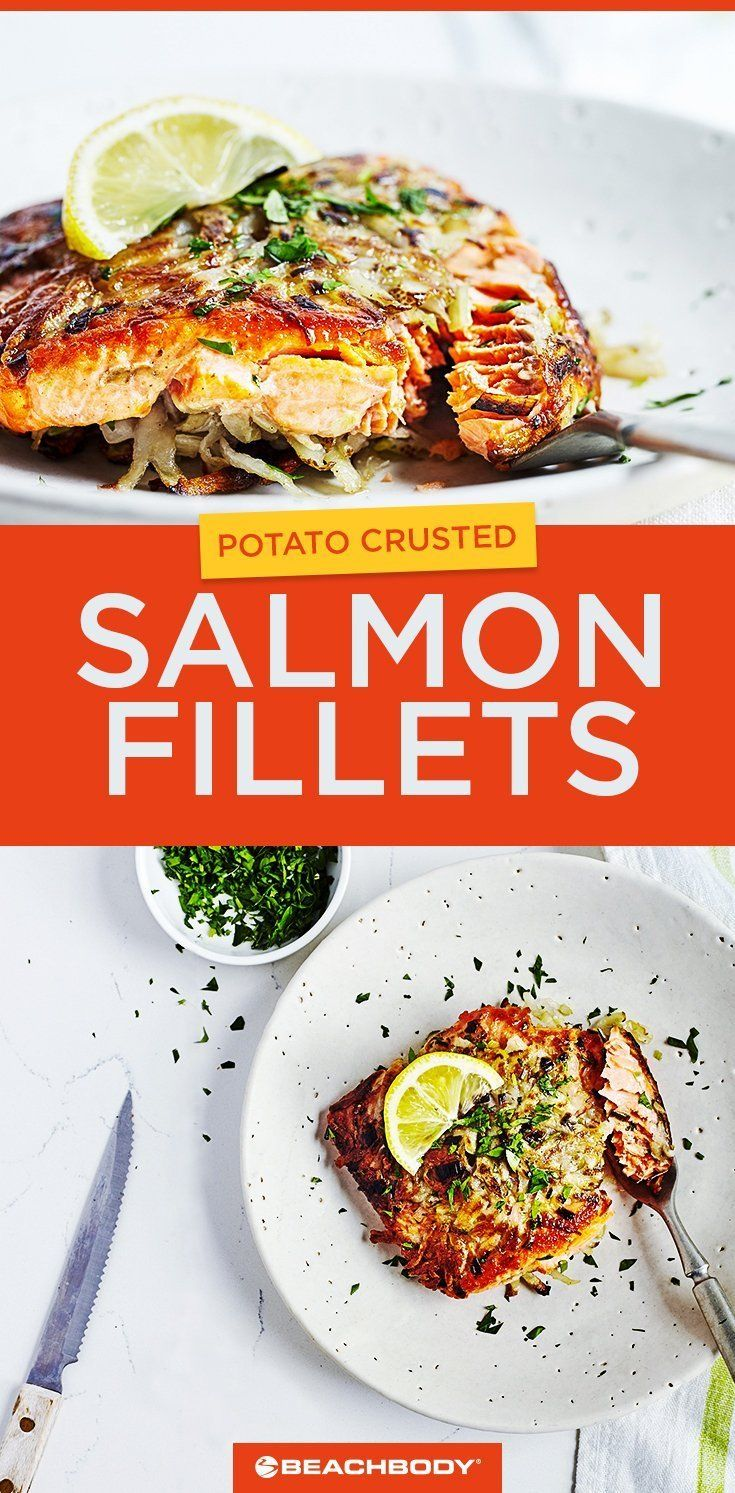 This healthy dinner recipe for Potato-Crusted Salmon Fillets can be made in 30 minutes. // easy salmon recipes // 21 Day Fix // Best salmon recipes // grilled salmon recipe // Beachbody // Beachbody Blog // #21dayfix #salmonrecipe #grilledsalmon #easyrecipes
