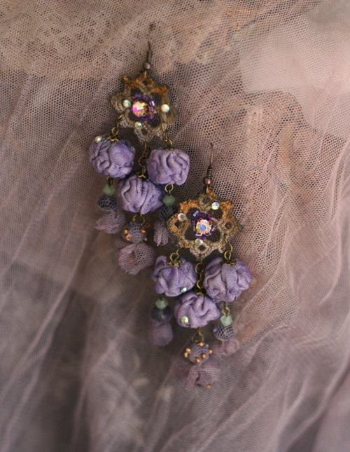 Clothilda- in dusty lavender --fairytales  inspired bold lightweight earrings from sculpted textile, vintage lace and crystals