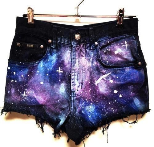#DIY galaxy cosmo shorts by alyce.  Right.  And so classy.  Can you say hoochee mama?