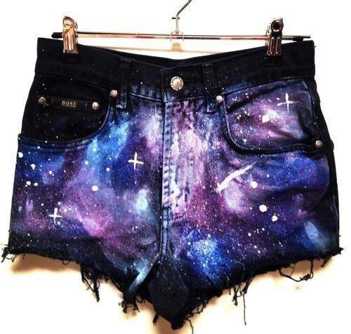 #DIY galaxy cosmo shorts by alyce