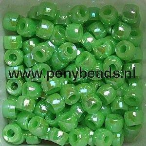 Haarkralen parelmoer AB appel / Pony beads Pearl AB apple