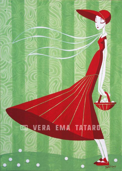 Riding Hood - acrylic painting on canvas by Vera Ema Tataro