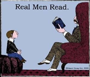 Real Men Read - T-Shirt by Edward Gorey: Thanks to @Christina Childress & Silbermann ! #Tshirt #Edward_Gorey