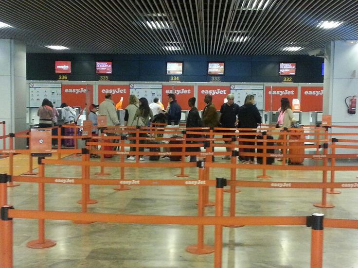 Easyjet checkin counter. Madrid Barajas Airport T1