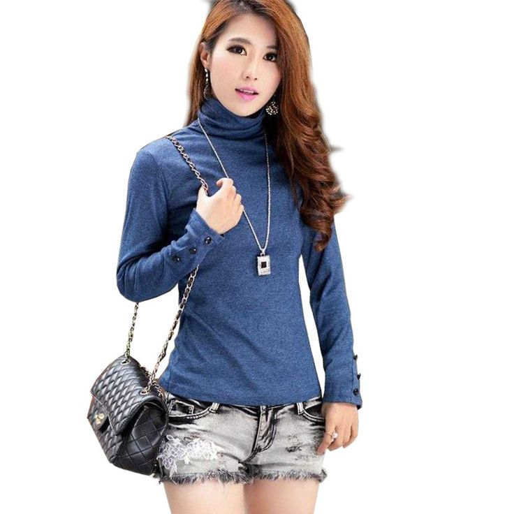 Blusas Femininas Fashion Women's Clothing Blouses Shirts Solid High Collar Turtleneck Long Sleeve Cotton Tops Tee Clothes Buy now for $ 20   #pintowin #shopping #fashion #style #musthave #ootd #fashionmodel #utilityjacket #falloutfits #falllook #lookbook #ootd #casualoutfit #casualstyle #casualootd #sochic #eshopoly