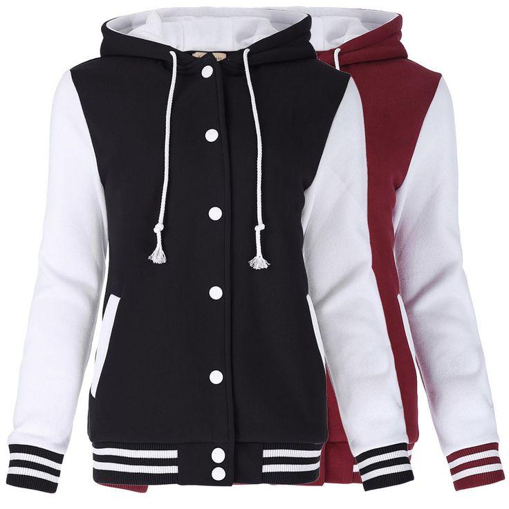 New Fashion Womens Girls Varsity Baseball Jacket Coat College Casual Sports Tops #KateKasin #BasicCoat #Casual