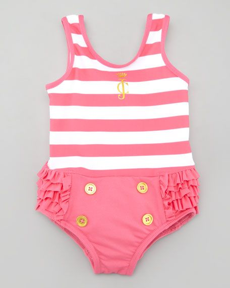 Juicy Couture Baby - Striped Ruffle Bottom One-Piece Swimsuit. Must have for beach trip summer 2014