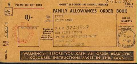 1960's Family Allowance Book for 8/- per week payable for the second child