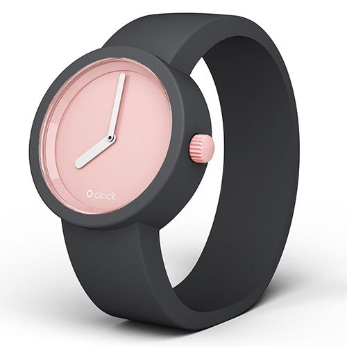 O clock watch - Powder Pink dial with Dark Grey strap