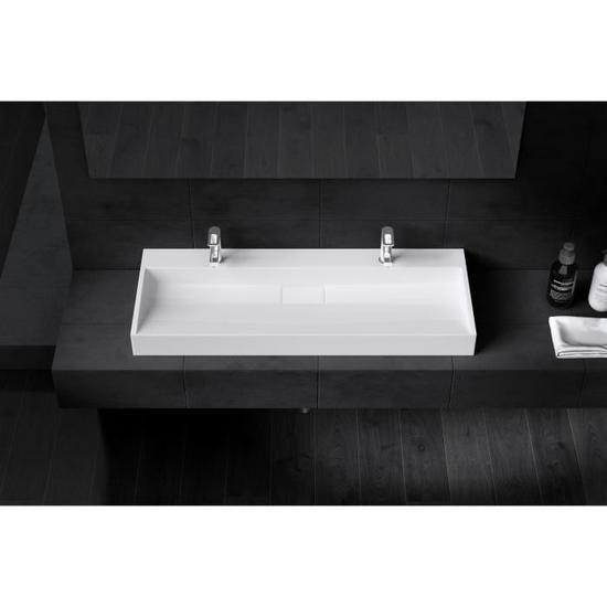 Lavabo double vasque poser ou suspendu 120cm x 46cm x - Double evier salle de bain ...