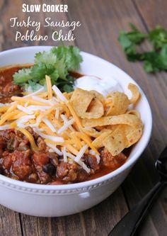 Slow Cooker Turkey Poblano Chili Recipe. Healthy crockpot recipe
