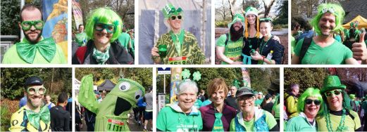 A collage of people in costume celebrating St. Patrick's Day in Vancouver